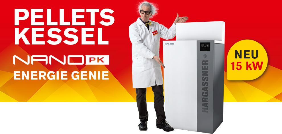 Jetzt NEU – die NANO Pelletsheizung PK 15kW von Hargassner