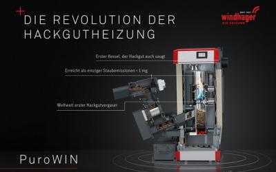 Windhager PuroWIN-erster Hackgutkessel der Hackgut saugt